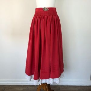 Vintage Red Maxi Skirt Size Small Cowgirl w/ Belt
